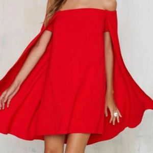 NWT Nasty Gal Red Off the shoulder cape dress